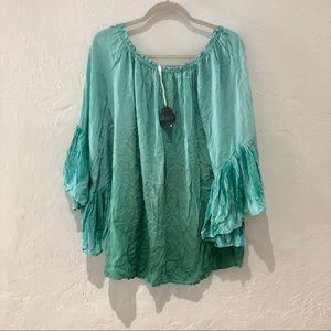 Indah | tie dye angel sleeve off shoulder tunic